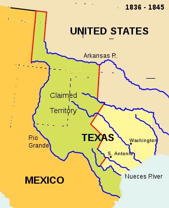 coahuila texas west boundary texas rio grande runs mexico Coahuila y Texas   map